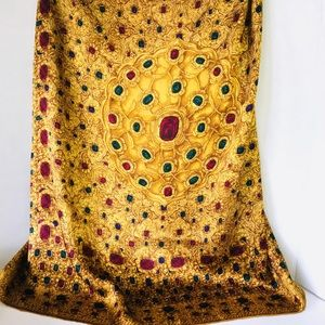 Vintage CHANEL Colorful Gemstones Silk Scarf Shawl